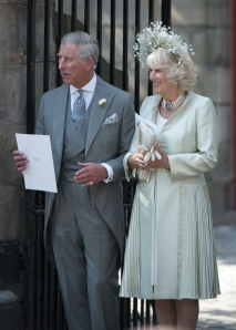 Charles and Camilla sneak back into the service after nipping out to join the Royal Mile high club...