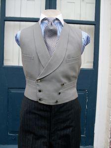 Double Breasted Grey Waistcoat - Shawl Lapel