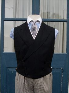Double breasted black waistcoat tailored by Rogers & Company in 1939