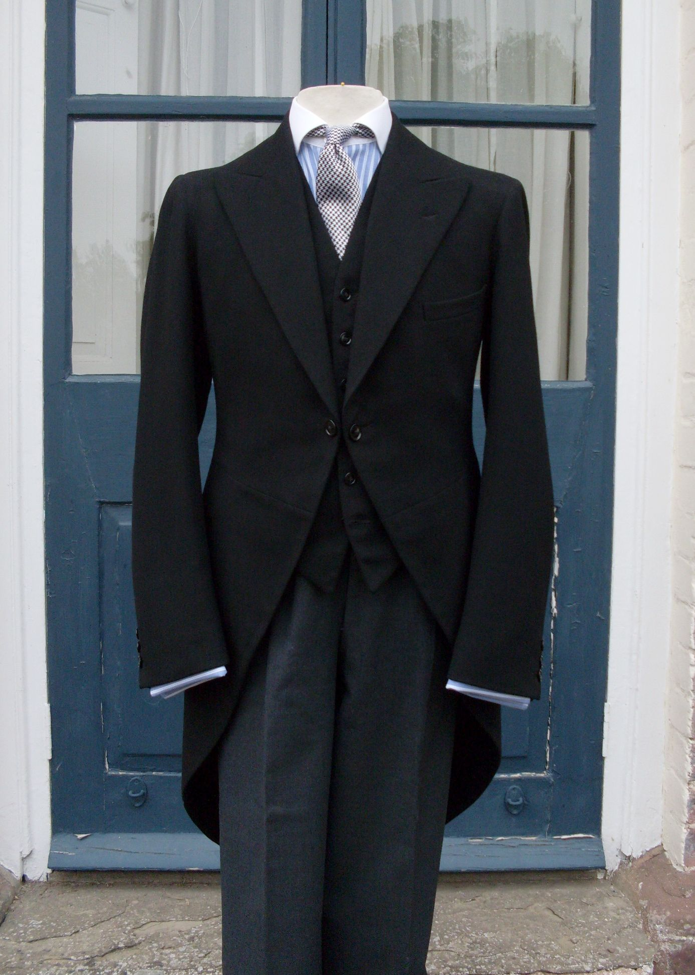 Vintage 1950s BURTON SB Suit Single Breasted Jacket Trousers Grey Blue POW Prince of Wales Check Glen Plaid Burtons 1940s Style 42 44