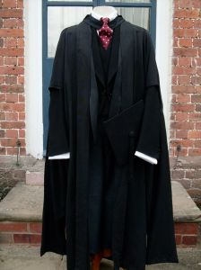 Cambridge MA gown (R.Buttress), Cambridge MA hood (Ede & Ravenscroft), Mortar Board (J. Whipple)