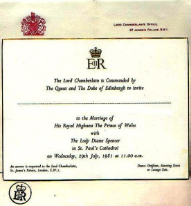 Charles Diana Wedding Invitation