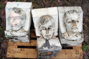 Three broken busts - now stolen