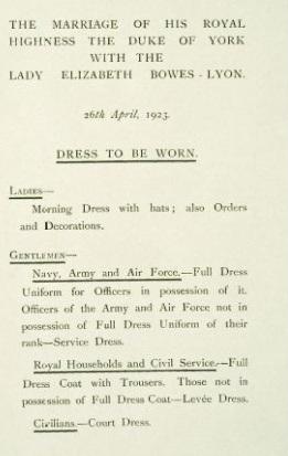 Dress Code 1923 wedding