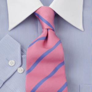 Light blue finely striped winchester with contrasting pink tie