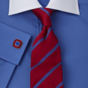 Solid dark blue with red tie. Classy.