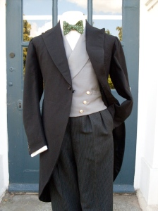 The coat and trousers were tailored by Tagney & Randell Ltd in 1933